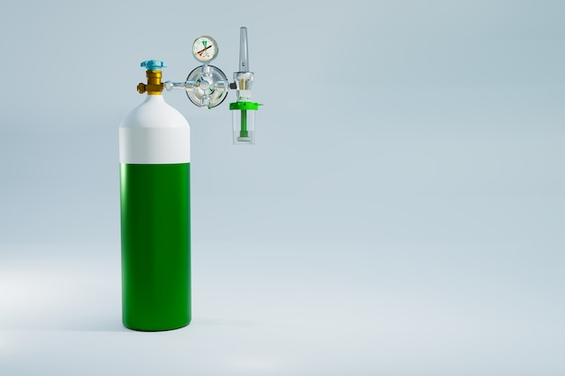 Oxygen tank for first aid lung therapy, 3d illustration rendering