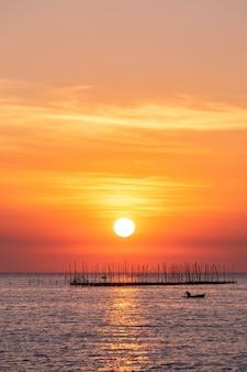 Azienda agricola dell'ostrica nel mare e nella bella priorità bassa di tramonto del cielo
