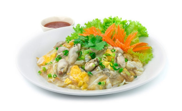 Oyster fried with egg hot dish chinese food asian style