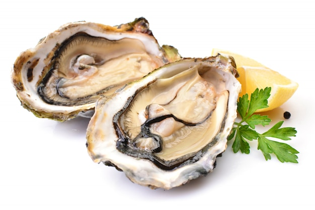Oysters isolated with lemon
