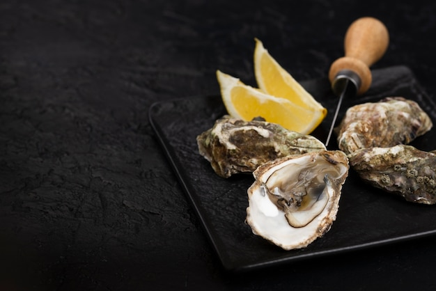 Oysters on plate with knife and lemon slices