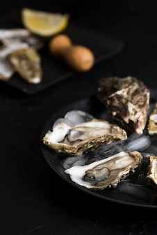 Oysters with defocused lemon slices and knife
