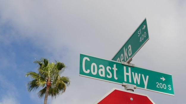パシフィックコーストハイウェイ、米国カリフォルニア州の歴史的なルート101道路標識。海に沿って旅行します。