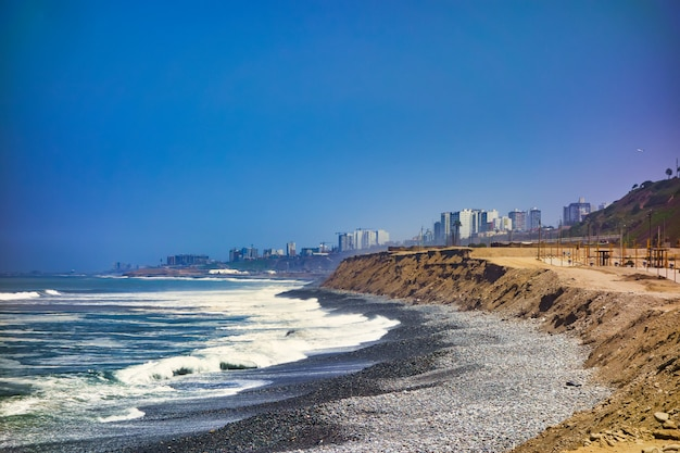 The pacific ocean coast on the city of lima in peru