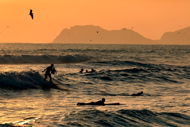 Pacific ocean. silhouettes of the surfers and the mountain at sunset time. lima, peru. south america