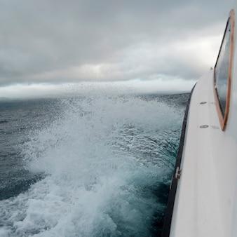 Pacific ocean viewed from a moving boat, san cristobal island, galapagos islands, ecuador