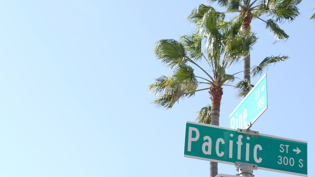 Pacific street road sign on crossroad