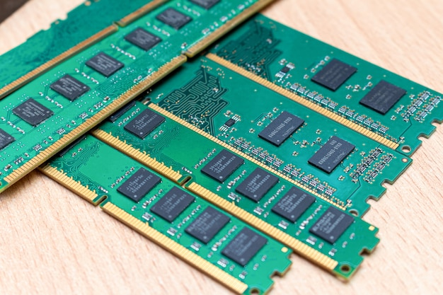 Pack of ddr dimm memory on the table in a service