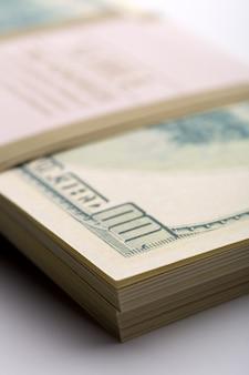Pack of dollars. macro view