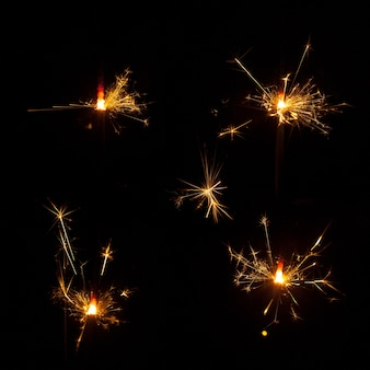 Pack of five burning sparklers