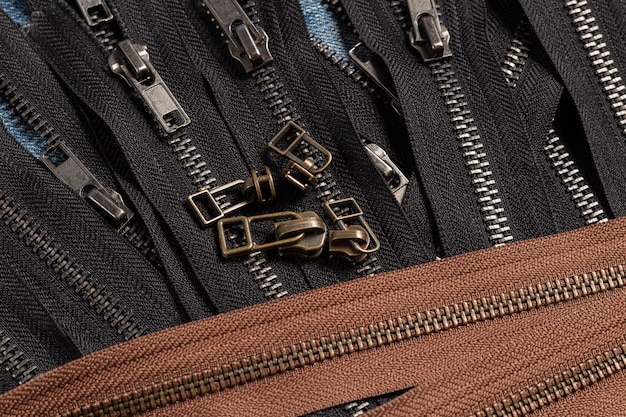 Pack a lot of black brown metal brass antique zippers stripes with sliders