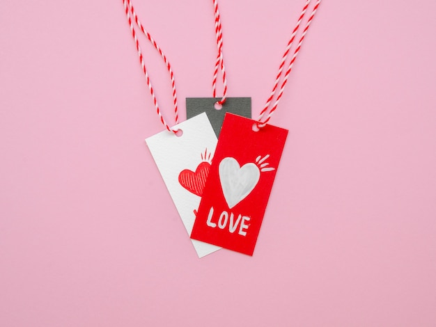 Pack of love labels flat lay
