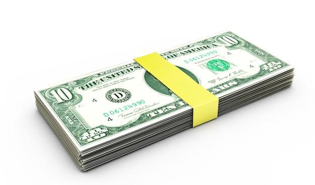 Пакет банкнот десять долларов. 3d иллюстрации.