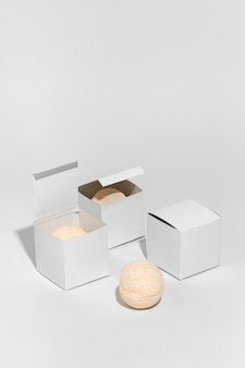 Package for bath bombs on white background