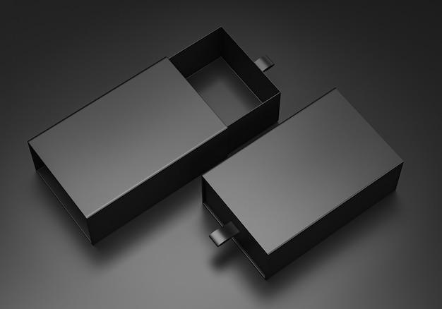 企業ブランディング用のパッケージブランクスライディングドロワーブラック段ボール箱モックアップ。 3dレンダリング