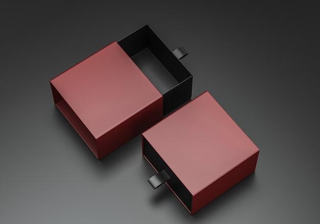 기업 브랜딩을위한 패키지 빈 슬라이딩 서랍 적갈색 골판지 상자 모형. 3d 렌더링