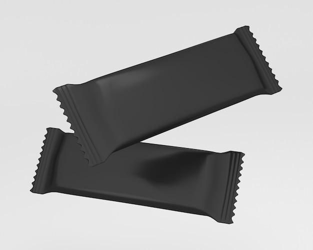Пакет шоколадный батончик заготовка flow pack - 3d визуализация
