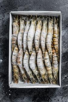 Package of frozen tiger prawns, shrimps.