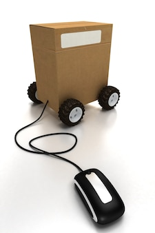 Package on wheels connected to a mouse