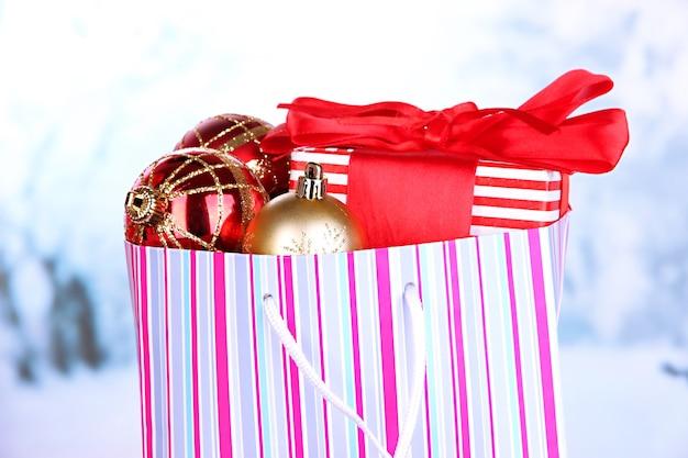 Package with new year balls and gifts