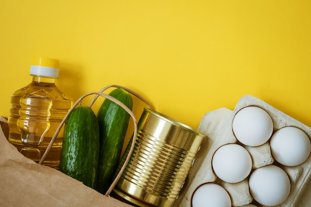 Package with products on a yellow background