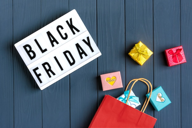 Packaging bags, gift boxes lightbox with text black friday