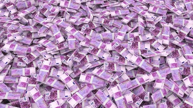 Упаковка банкнот пятисот евро на весь каркас