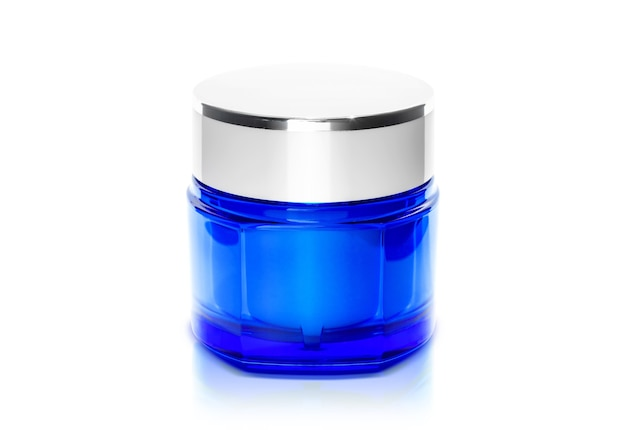 Packaging transparent blue cream pot for cosmetic product