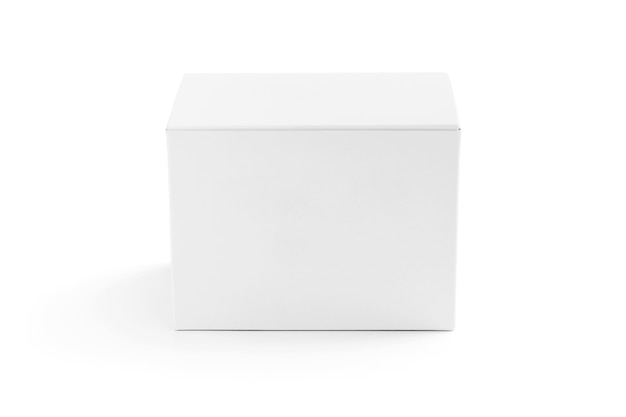 Packaging white cardboard box isolated on white