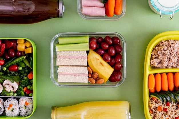 Packed fish, vegetables and fruits flat lay