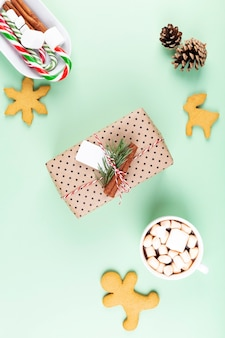 Packed gift and cocoa cup with marshmellow, green.