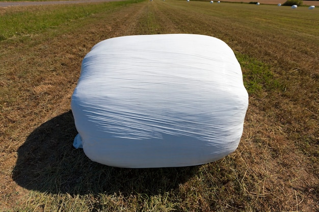 Упакованная в пленку травяная солома для кормления скота