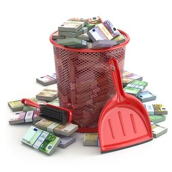 Пакеты евро в мусорном баке. пустая трата денег или концепции краха валюты. 3d