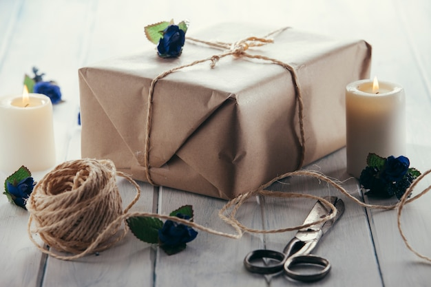 Packs wrapped in kraft paper and candles