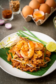 Pad thai - stir-fried rice noodles with  shrimp - thai food style