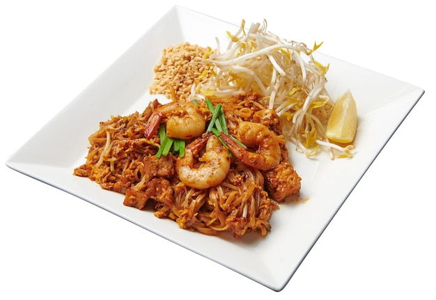 Pad-thai with shrimp isolated on white background