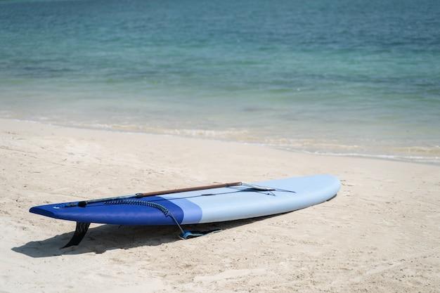 Гребля на песке на тропическом пляже, в солнечный день.