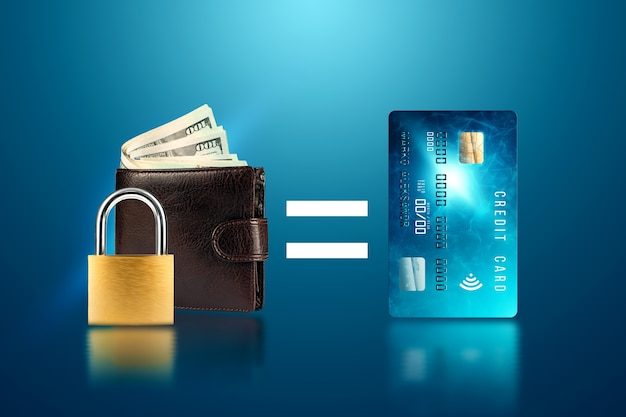 Padlock on the background of a wallet with money equals a credit card