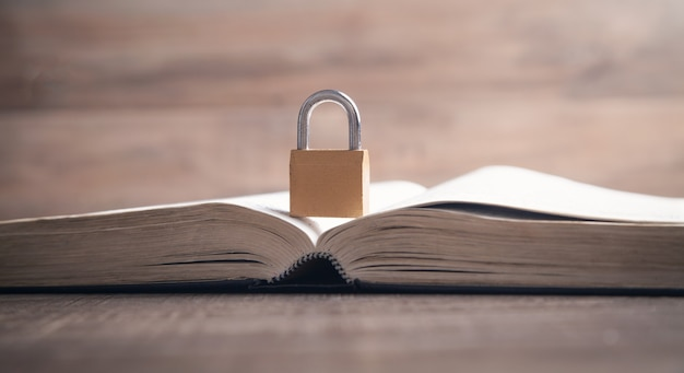Padlock on the book. information security