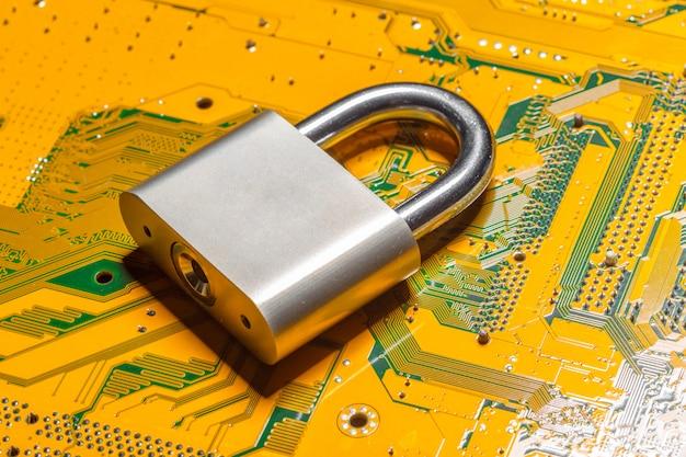 Padlock on a computer circuit board