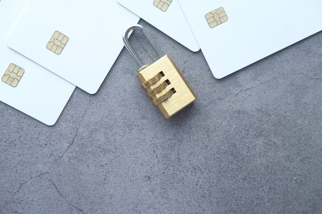 Padlock on credit card internet data privacy information security concept