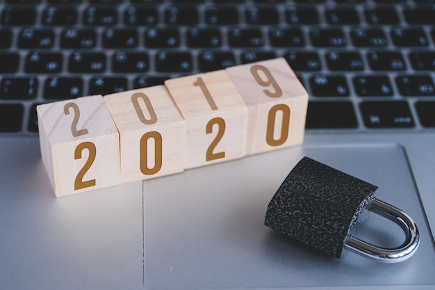 Padlock and cubes with numbers new year