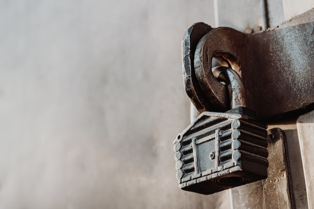 Padlock in the form of a hut hangs on the hinges of the closed gate. metal gates.