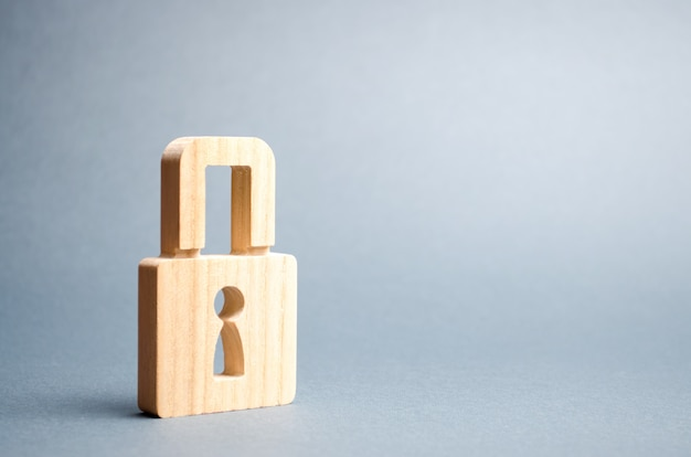 A padlock on gray. information safety