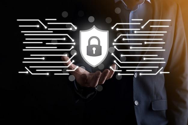 자물쇠 아이콘 및 인터넷 기술 네트워킹입니다. 태블릿 및 가상의 데이터 개인 정보