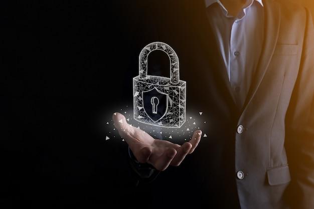 자물쇠 아이콘 및 인터넷 기술 네트워킹