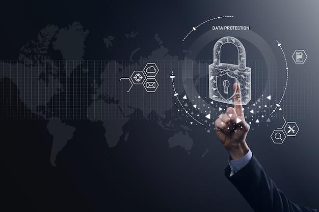 Значок замка и сеть интернет-технологий