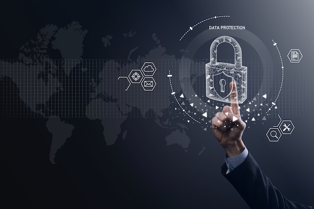Padlock icon and internet technology networking