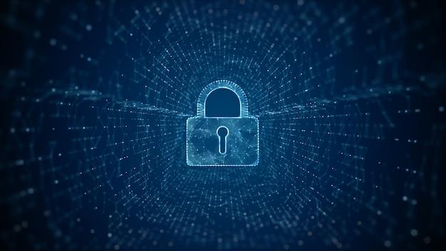 サイバーセキュリティの南京錠デジタルデータデジタルデータネットワーク保護
