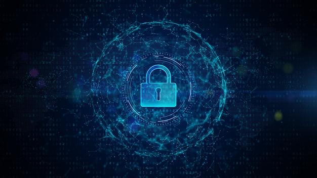 Замок cyber security digital data digital